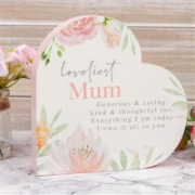3D heart mantel plaque filled with love message for mum