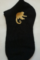 Boys fun logo gold monkey design ankle socks in black 7-10