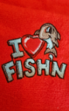 Embroidered  red ( I  love fishing  ) hand size towel