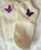 Ladies/girls butterfly logo ankle socks in cream
