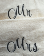 Personalised embroidered mr + mrs cream  bath sheet