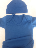 Royal blue bodysuit/romper & beanie hat personalised