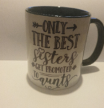 white-black 11 oz best sister gets promoted to aunty coffee/tea mug